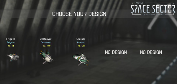 Five designs to choose from. They can be of any ship class (so you can have 2 frigates and 3 destroyers if you want).