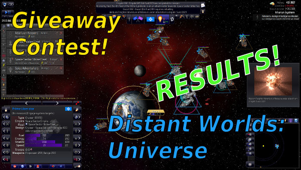 Distant Worlds: Universe by CodeForce, Matrix Games and Slitherine - Giveaway contest results