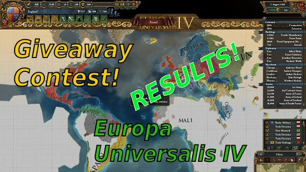 Europa Universalis IV: Digital Extreme Edition - Giveaway contest results