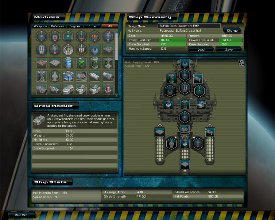 Gratuitious Space Battles: Ship Design Screen