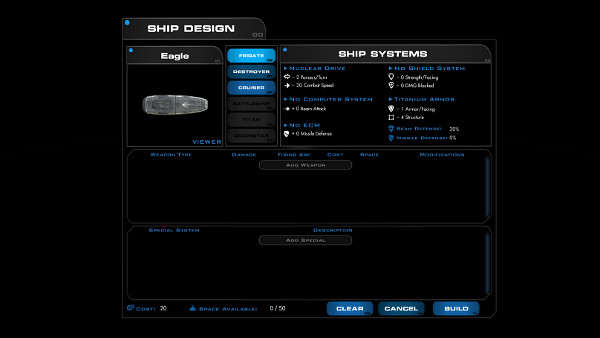 Lord of Rigel | Ship design screen