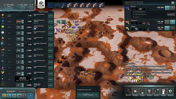 Offworld Trading Company | Engineering allows you to increase production rates thus increasing profits