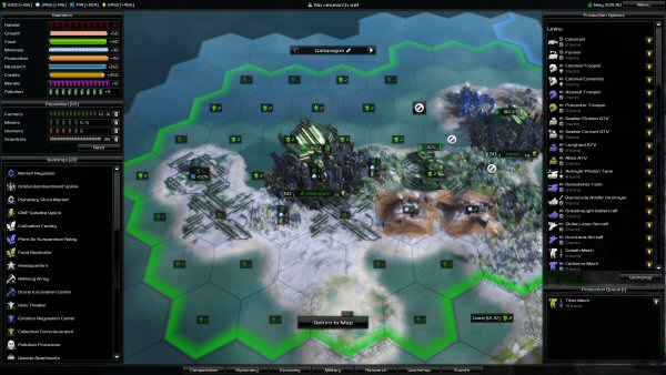 Pandora: First Contact | City management screen