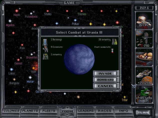 MOO2 Invasion/Bombard Screen