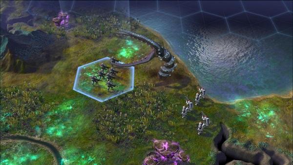 Sid Meier's Civilization: Beyond Earth | Alien worm fighting early explorers