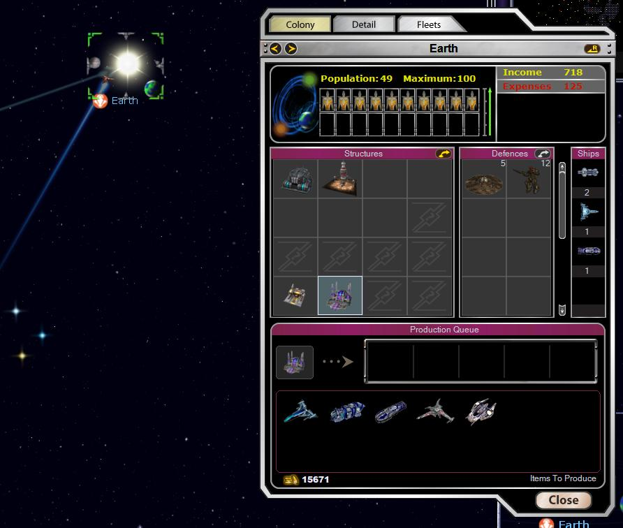 Armada 2526 - Production Screen
