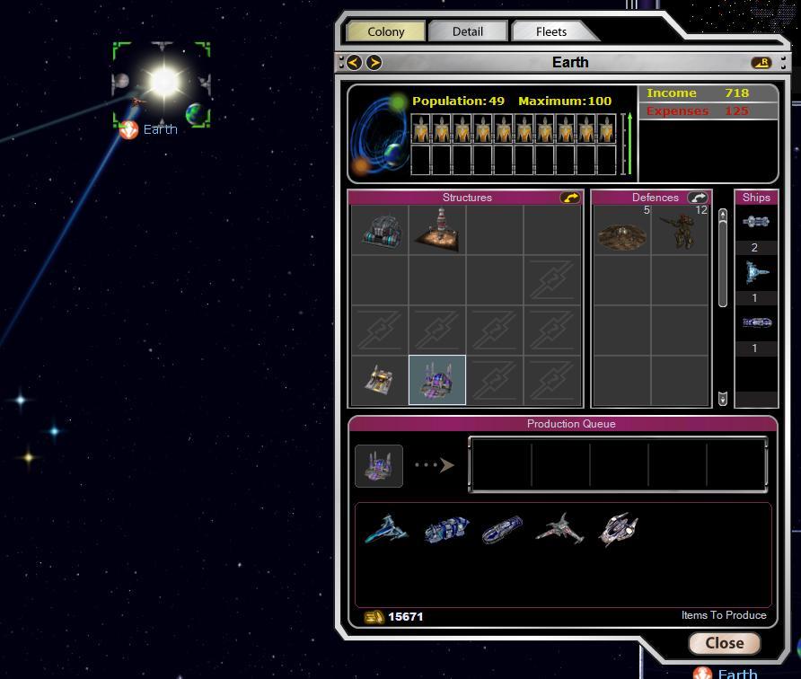 Armada 2526 - Production Screen