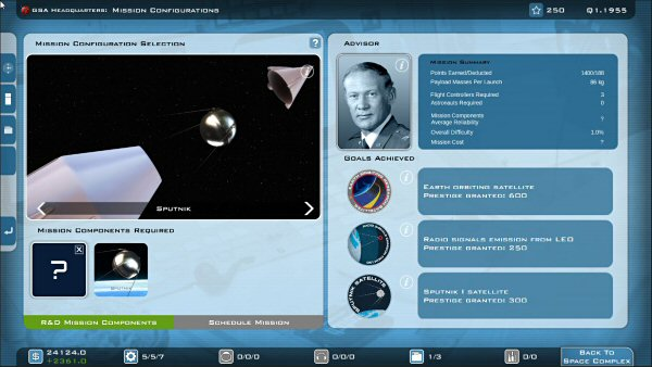 Buzz Aldrin's Space Program Manager | Mission configuration selection