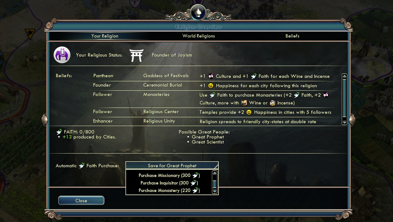 how to start a religion in civ 5