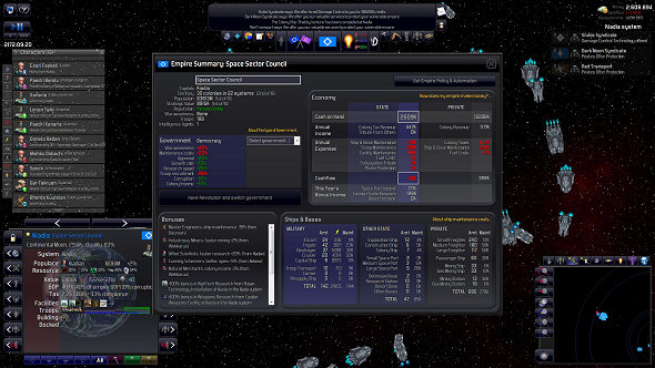 The Empire screen lets you know what your private sector is up to