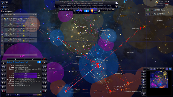 Distant Worlds: Universe | The Star map, with the different empires' borders and lots of ships coming and going