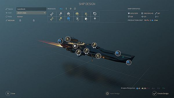 Endless Space 2 Early Access - Ship Design is improved and offers more options than before