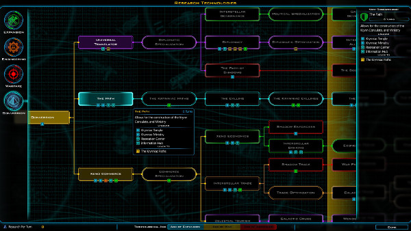 Galactic Civilizations 3 | Tech tree, including Krynn's special tech branch