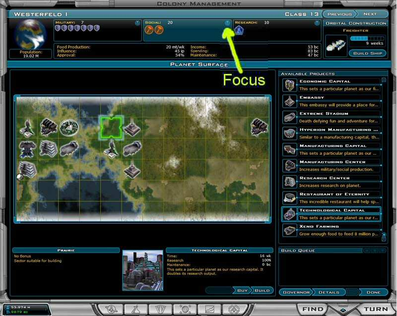 Galactic Civilizations 2 colony production focus