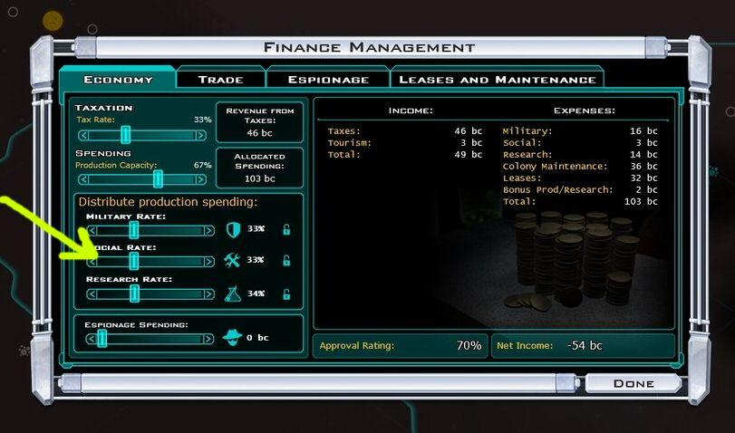 Galactic Civilizations 2 empire budget allocation sliders