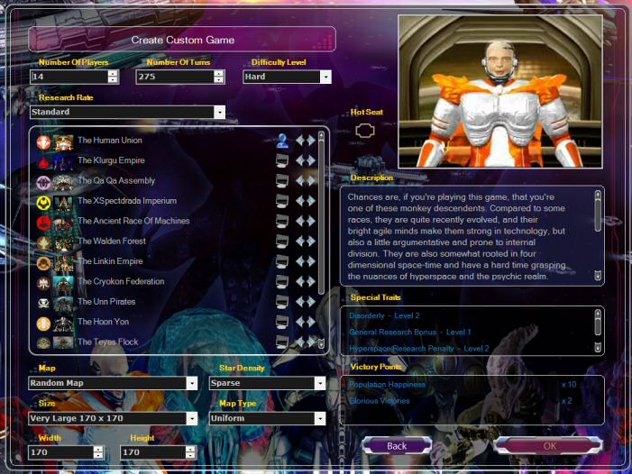 Armada 2526: Game Customization Screen