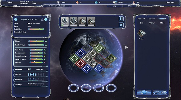 Legends of Pegasus: Colony Management Scree