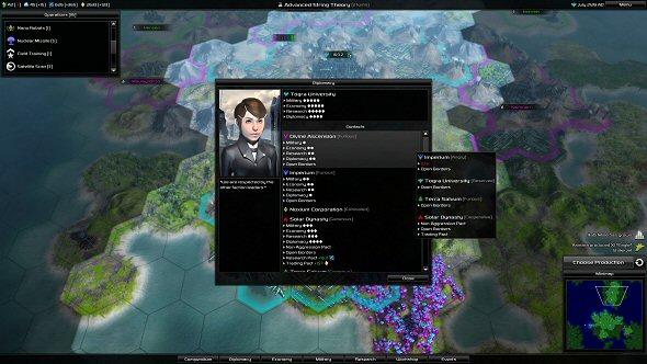 Pandora: First Contact - Diplomacy screen