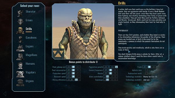Polaris Sector   All the options available to a new race