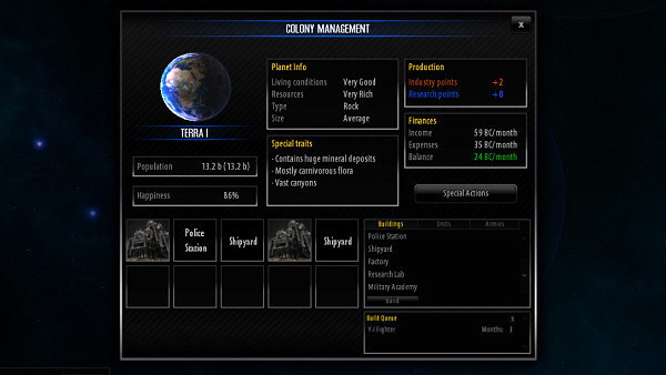 Star Lords | Colony Management screen