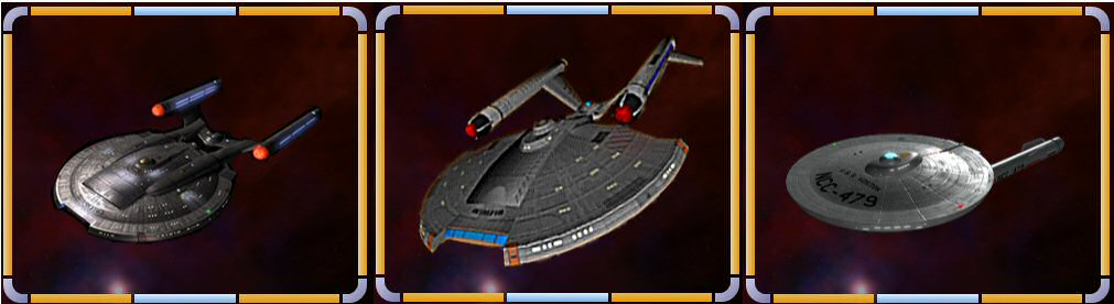 Federation Cruiser, Surveyor and Scout (from left to right)
