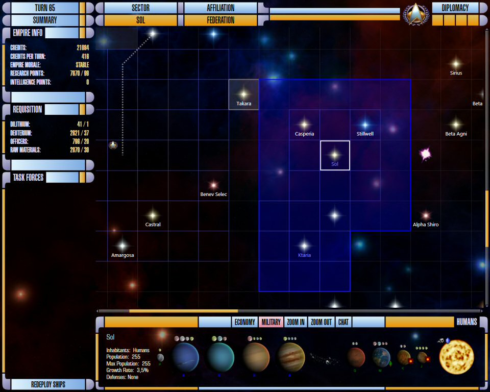 Star Trek Supremacy: Galaxy Map and System Details